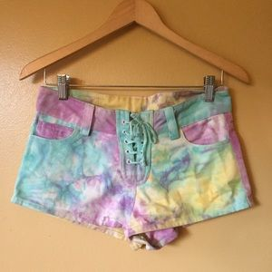 This is a love song// tie dye lace up denim shorts